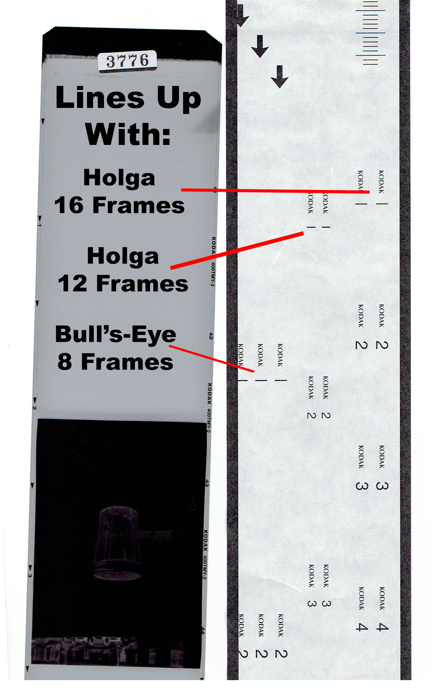 Figure 2. Frame numbers are spaced according to camera format/exposures.