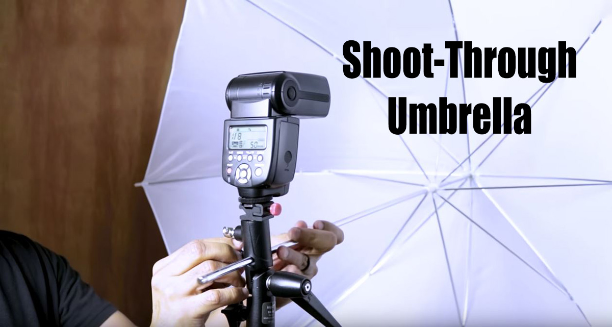off-camera flash and shoot-through umbrella modifier